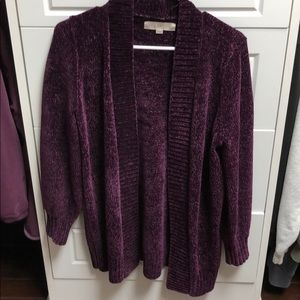 Loft purple chenille open cardigan, M.
